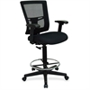 "Lorell Breathable Mesh Drafting Stool - Black Seat - Black Back - 5-star Base - Black - 20.10"" Seat Width x 18.50"" Seat Depth - 27"" Width x 25"" Depth x 48"" Height"