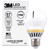 3M Commercial LED Advanced Light A19 RCA19C3, Soft White 3000K, 700 Lumens Dimmable - 10 W - A19 Size - Soft White Light Color - Screw Terminal Base - 36000 Hour - 4940.3°F (2726.8°C) Color Te
