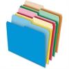 "Pendaflex 1/2-cut Tab Reversible File Folders - Letter - 8 1/2"" x 11"" Sheet Size - 1/2 Tab Cut - 11 pt. Folder Thickness - Stock - Assorted - 100 / Box"