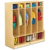 "Jonti-Craft 5 Section Step Coat Locker - 50.5"" Height x 48"" Width x 17.5"" Depth - Floor - White, Wood Grain - Baltic Birch Plywood - 1Each"