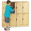 "Jonti-Craft Double Stack 8-Section Student Lockers - 48.5"" x 15"" x 45.5"" - Stackable, Lockable, Sturdy, Key Lock, Kick Plate - Wood Grain - Baltic Birch Plywood"