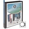"Business Source Presentation Binder - 1"" Binder Capacity - Letter - 8 1/2"" x 11"" Sheet Size - Round Ring Fastener - Internal Pocket(s) - Chipboard, Polypropylene - Black - 12 / Carton"