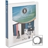 "Business Source Presentation Binder - 1"" Binder Capacity - Letter - 8 1/2"" x 11"" Sheet Size - Round Ring Fastener - Internal Pocket(s) - Chipboard, Polypropylene - White - 12 / Carton"