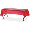 "Genuine Joe Plastic Rectangular Table Covers - 108"" x 54"" - 24 / Carton - Plastic - Red"