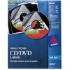 Avery Inkjet Glossy CD/DVD Labels - - Length2 / Sheet - Circle - Inkjet - White - 20 / Pack