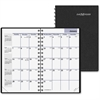 "At-A-Glance DayMinder Pocket Planner - Julian - Monthly - 1 Year - January 2017 till December 2017 - 1 Month Double Page Layout - 3.75"" x 6"" - Wire Bound - Black - Leather - Pocket, Perforated Corner,"