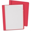 "Oxford Oxford Clear Front Report Cover - Letter - 8 1/2"" x 11"" Sheet Size - 100 Sheet Capacity - 3 x Tang Fastener(s) - 1/2"" Fastener Capacity for Folder - Leatherette - Red, Clear - Recycled"