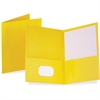 "Oxford Twin Pocket Folders - Letter - 8 1/2"" x 11"" Sheet Size - 100 Sheet Capacity - 2 Internal Pocket(s) - Leatherette Paper - Yellow - Recycled - 25 / Box"