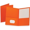 "Oxford Twin Pocket Folders - Letter - 8 1/2"" x 11"" Sheet Size - 100 Sheet Capacity - 2 Internal Pocket(s) - Leatherette Paper - Orange - Recycled - 25 / Box"