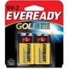 Eveready Gold Alkaline 9-Volt Batteries - 565 mAh - 9V - Alkaline - 9 V DC - 2 / Pack