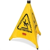 "Rubbermaid Commercial Multi-Lingual Caution Safety Cone - 1 Each - Caution, Attention, Cuidado Print/Message - 21"" Width x 20"" Height - Durable, Multilingual - Yellow"