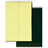 "TOPS Docket Steno Pad - 100 Sheets - Printed - Coilock 6"" x 9"" - Canary Paper - Forest Green Cover - Chipboard Cover - 1Each"