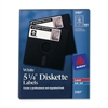 Diskette Label - Permanent Adhesive Length - 12 / Sheet - Circle - Laser, Inkjet - White - 840 / Box