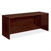 "HON 10700 Series Single Right Pedestal Credenza - 72"" x 24"" x 29.5"" - 2 - Single Pedestal on Right Side - Waterfall Edge - Material: Wood - Finish: Laminate, Mahogany"