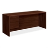 "HON 10700 Series Single Left Pedestal Credenza - 72"" x 24"" x 29.5"" - 2 - Single Pedestal on Left Side - Waterfall Edge - Material: Wood - Finish: Laminate, Mahogany"