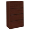 "HON 10700 Series Lateral File - 36"" x 20"" x 59.1"" - 4 - Waterfall Edge - Material: Wood - Finish: Laminate, Mahogany"