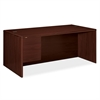 "HON 10700 Series Single Left Pedestal Desk - 72"" x 36"" x 29.5"" - Single Pedestal on Left Side - Waterfall Edge - Material: Wood - Finish: Laminate, Mahogany"