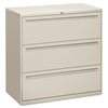 "HON 700 Series Full-Pull Locking Lateral File - 42"" x 19.3"" x 40.9"" - 3 x Drawer(s) for File - Legal, Letter - Lateral - Interlocking, Label Holder, Leveling Glide, Ball-bearing Suspension - Light Gra"