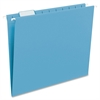 """Colored Hanging Folders with Tabs - Letter - 8 1/2"""" x 11"""" Sheet Size - 1/5 Tab Cut - Assorted Position Tab Location - Sky Blue - Recycled - 25 / Box"""