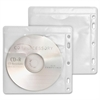 Compucessory Double-Pocket CD/DVD Sleeve - 2 x CD/DVD Capacity - Ring Binder - White, Clear - 100 / Pack