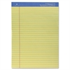 "Premium Grade Perforated Legal Ruled Pad - 50 Sheets - Printed - Wire Bound - Both Side Ruling Surface - 16 lb Basis Weight - 8.50"" x 11.75"" - Canary Paper - 1Each"