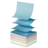 "Sparco Fanfold Pop-up Adhesive Pastel Note Pads - 100 - 3"" x 3"" - Square - Unruled - Pastel Assorted - Pop-up, Solvent-free Adhesive, Fanfold, Repositionable - 12 / Pack"