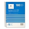 "Sparco Quality Wirebound Wide Ruled Notebooks - 180 Sheets - Printed - Wire Bound - 16 lb Basis Weight 8"" x 10.50"" - Bright White Paper - Assorted Cover - Chipboard Cover - 1Each"