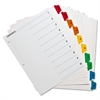 Sparco Color Coded Indexing System - 10 - Tab(s)Printed 1-10 - 10 Tab(s)/Set - 3 Hole Punched - White - Multicolor - 10 / Set