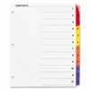 Sparco Color Coded Indexing System - 12 Printed Tab(s) - Digit - 12 Tab(s)/Set - 3 Hole Punched - White Divider - Multicolor Tab(s) - 12 / Set
