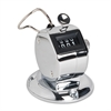 Sparco Hand Tally Counter with Base - 4 Digit - Finger Ring - Desktop - Nickel Plated - Silver