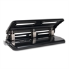 "Heavy-duty Hole Punch - 3 Punch Head(s) - 30 Sheet Capacity - 9/32"" Punch Size - Black"