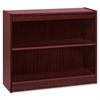 "Lorell Panel End Hardwood Veneer Bookcase - 36"" x 12"" x 30"" - 2 x Shelf(ves) - 110 lb Load Capacity - Mahogany - Laminate - Wood, Veneer - Assembly Required"