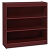 "Lorell Panel End Hardwood Veneer Bookcase - 36"" x 12"" x 36"" - 3 x Shelf(ves) - 330 lb Load Capacity - Mahogany - Laminate - Wood - Assembly Required"