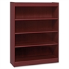 "Lorell Panel End Hardwood Veneer Bookcase - 36"" x 12"" x 48"" - 4 x Shelf(ves) - 440 lb Load Capacity - Mahogany - Laminate - Wood - Assembly Required"