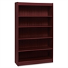 "Lorell Panel End Hardwood Veneer Bookcase - 36"" x 12"" x 60"" - 5 x Shelf(ves) - 550 lb Load Capacity - Mahogany - Laminate - Wood - Assembly Required"