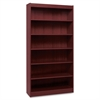 "Lorell Panel End Hardwood Veneer Bookcase - 36"" x 12"" x 72"" - 6 x Shelf(ves) - 660 lb Load Capacity - Mahogany - Laminate - Wood - Assembly Required"