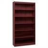"Lorell Panel End Hardwood Veneer Bookcase - 36"" x 12"" x 84"" - 6 x Shelf(ves) - 660 lb Load Capacity - Mahogany - Laminate - Wood - Assembly Required"