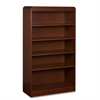 "Lorell Radius Hardwood Veneer Bookcase - 36"" x 12"" x 60"" - 5 x Shelf(ves) - 330 lb Load Capacity - Mahogany - Veneer, Laminate - Hardwood - Assembly Required"
