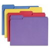 "Colored Folder with Antimicrobial Product Protection - Letter - 8 1/2"" x 11"" Sheet Size - 1/3 Tab Cut - 11 pt. Folder Thickness - Blue, Yellow, Orange, Purple - Recycled - 100 / Box"