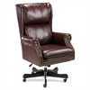 "Traditional Executive Swivel Tilt Chair - Vinyl Oxblood Seat - Hardwood Mahogany Frame - 5-star Base - Wood - 29"" Width x 32"" Depth x 47"" Height"