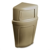 Continental 8325 Corner Round Receptacle - 21 gal Capacity - Beige