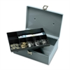 "All-Steel Cash Box with Latch Lock - 1 Bill - 6 Coin - Steel - Gray - 4"" Height x 11"" Width x 7.8"" Depth"
