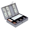 "Steel Combination Lock Cash Box - 6 Coin - Steel - Gray - 3.2"" Height x 11.5"" Width x 7.8"" Depth"