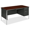 "HON Mentor Single Pedestal Desk - Rectangle Top - 2 Drawers - 30"" Table Top Length x 60"" Table Top Width - 29.50"" Height x 60"" Width x 30"" Depth - Mahogany"