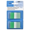 "Removable Flag - 100 x Blue - 1.75"" x 1"" - Rectangle - Green - See-through, Self-adhesive, Removable - 100 / Pack"