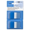 "Sparco Removable Flag - 100 x Blue - 1.75"" x 1"" - Rectangle - Blue - See-through, Self-adhesive, Removable - 100 / Pack"