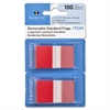 "Removable Flag - 100 x Red - 1.75"" x 1"" - Rectangle - Red - See-through, Self-adhesive, Removable - 100 / Pack"