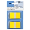 "Sparco Removable Standard Flags Dispenser - 100 x Blue - 1.75"" x 1"" - Rectangle - Yellow - See-through, Self-adhesive, Removable - 100 / Pack"