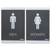 "U.S. Stamp & Sign ADA Restroom Sign for Men & Women - 2 / Set - Men, Women Print/Message - 6"" Width x 9"" Height - Rectangular Shape - Silver Print/Message Color - Self-adhesive - Plastic - Black"