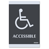 "Century Handicap Accessible Sign - 1 Each - Accessible Print/Message - 6"" Width x 9"" Height - Silver Print/Message Color - Self-adhesive - Plastic - Black"